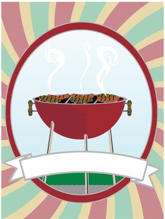 バーベキュー料理ホットドッグやハンバーガーの中渦巻オーバル  イラスト・ベクター素材
