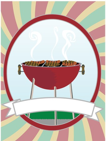 소용돌이 타원형 안에 핫도그와 햄버거를 요리하는 BBQ