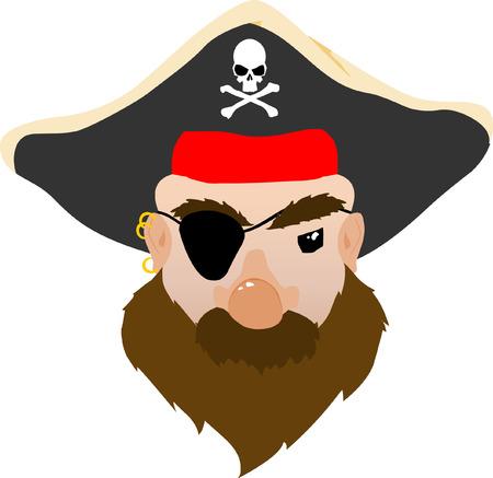 Volto di una media Pirate  Vettoriali