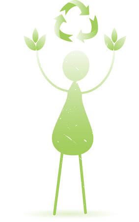 Abstract Green Person Leaves Recycle Vector