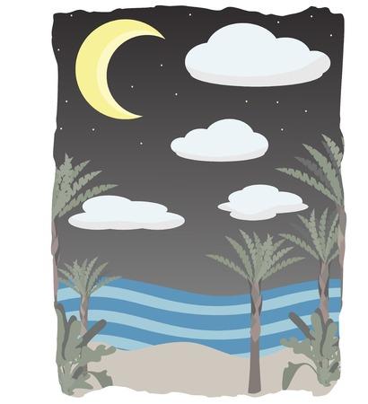 Nightfall on tropical seascape Stock Vector - 7085705