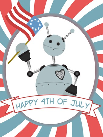 4th of July Robot Waving Flag Banner Stock Vector - 7085706