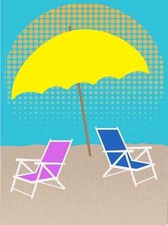 untouched: White Chair on Beach Under Umbrella Halftones