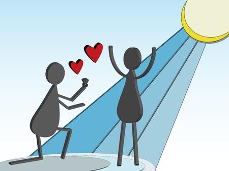 3D Stick Figure Marriage Proposal Vector Illustration