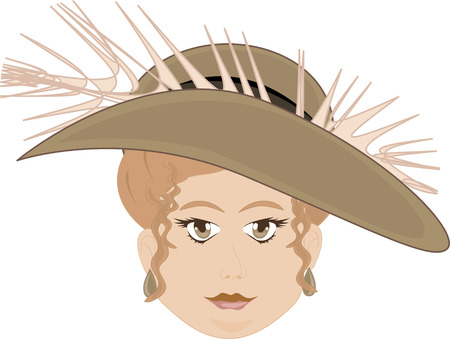 Chubby Faced Woman Wearing Feather Hat  Stock Vector - 7168950