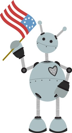 4th of July Flag holding springy round robot Vector