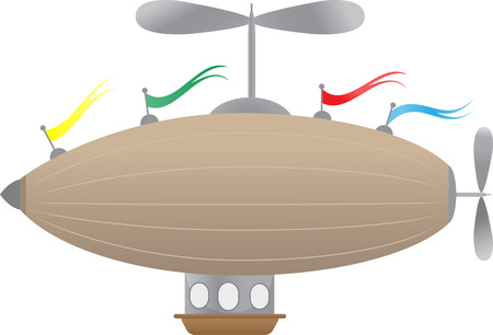 Editable Illustration of blimp like abstract airship, basket and windows