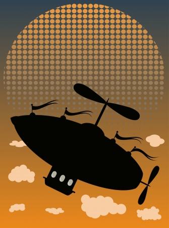 실루엣 AirShip 비행 과거 구름 하프 톤 페이딩 태양 일러스트