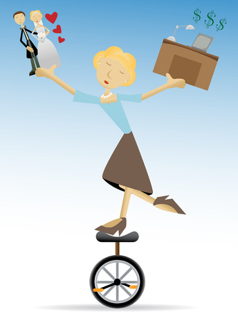 Female in casual business attire standing on unicycle trying to hold love and work equally editable vector illustration Ilustrace