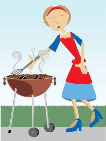 Woman with short brown hair, stands outside, wearing blue and read, apron, sandals and pearls cooking meat