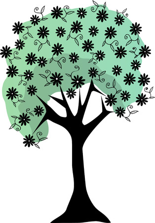 Abstract tree covered in flowers Stock Vector - 7315407