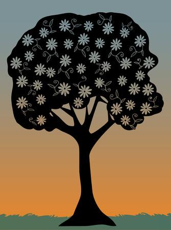 Dusky single outline of flower filled tree Stock Vector - 7315406