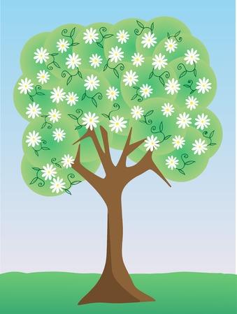 Single floral white flower tree daytime setting 向量圖像
