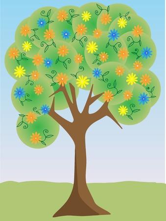 Colorful bright flower tree 向量圖像
