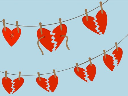 conceptual image: Broken Hearts Awaiting Repair hang from wooden pegs on string line Illustration