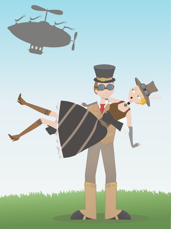 Surprised steampunk victorian neo goth style falls from flying blimp into arms of smiling steampunk man.