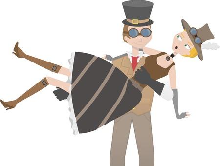 Steampunk man catching steampunk woman  Stock Vector - 7468924