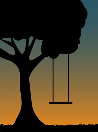 Tree Swing Silhouette at dusk Stock Vector - 7468923