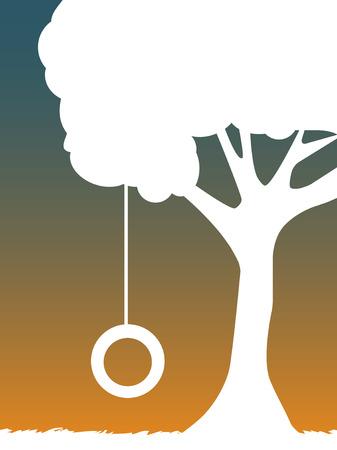 白いシルエットのタイヤ スイングからぶら下がっている夕暮れ時にツリー