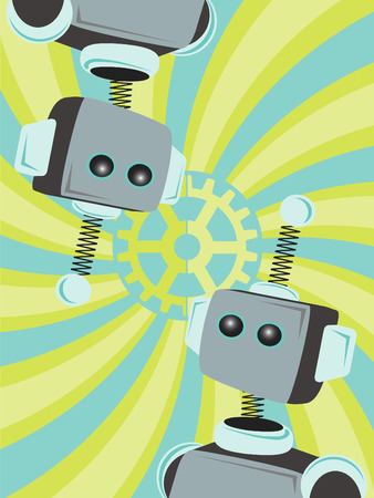 Two Robots Abstract looking at each other gear swirl background