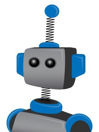 하나의 안테나가있는 블루 스프링 로봇