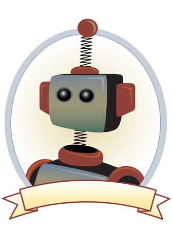 spokesperson: Robot Product Label Oval Banner Illustration