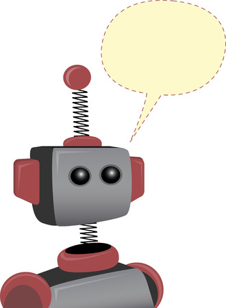 tin: Robot with blank chat bubble