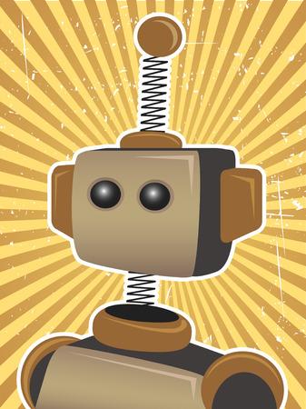 로봇을 둘러싼 복고풍 햇빛
