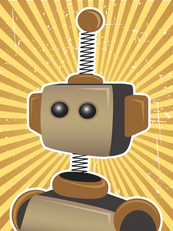 coil spring: Retro Grunge Robot Protrait Propaganda Poster surrounded by bright brown sunny rays beams Illustration