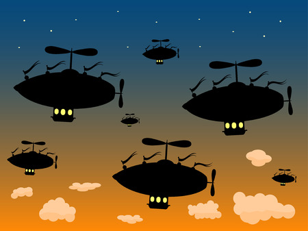 Group of Silhouetted Airship Sail High against dusky sky Illustration
