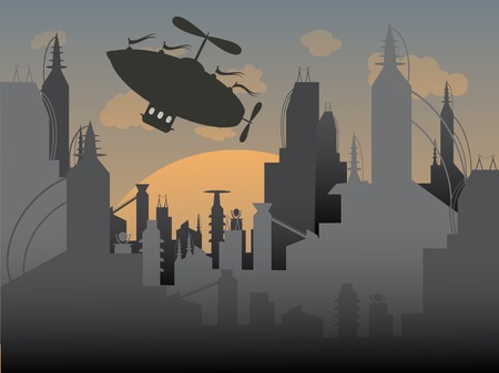 Airship flies away from a futuristic urban city Vector