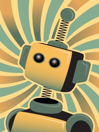 金および青い渦サラウンドの角度で弾力のある箱型ロボット