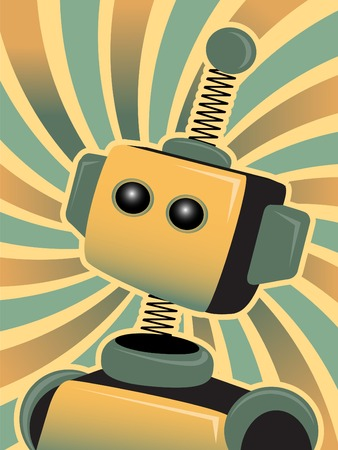 tin robot: Gold and Blue swirls surround a boxy springy robot at angle  Illustration