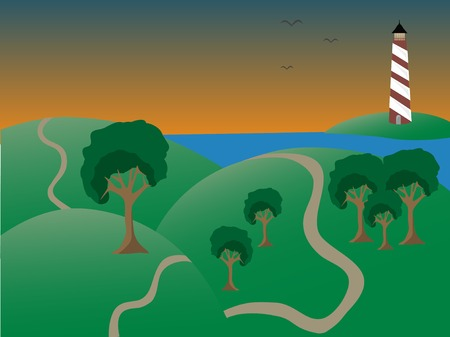 Coastal scene at dusk lighthouse, hills, and tree laced paths Stock Vector - 7633417