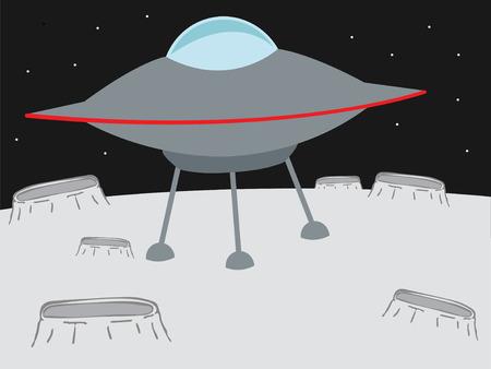 행성 벡터와 같은 분화구에 착륙 UFO가 일러스트