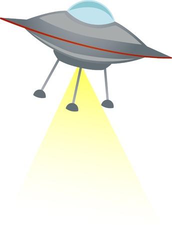 UFO の撮影黄色ビーム  イラスト・ベクター素材