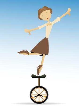 외발 자전거 타다 발가락에 균형을 잡는 여자 일러스트