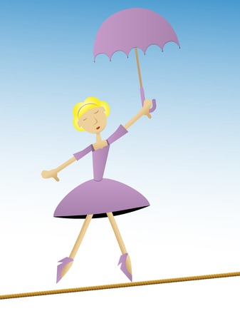 Woman in purple dress holding umbrella walking on tightrope Vector