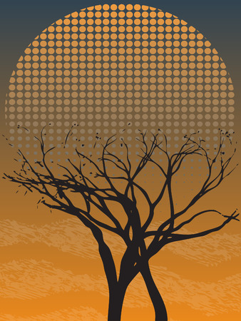 Creepy Gothic Single Leafless Tree at Dusk with fog Stock Vector - 7729337