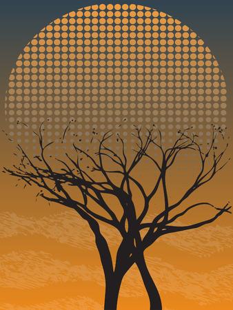 Creepy Gothic Single Leafless Tree at Dusk with fog Stock Vector - 7729337
