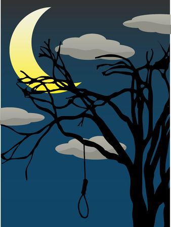 Creepy silhouettee of lone tree holding single empty noose editalbe vector illustration Vector