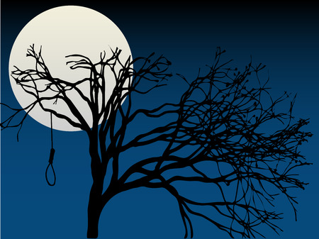 Spooky Full Moon highlight bare tree with hanging noose Stock Illustratie