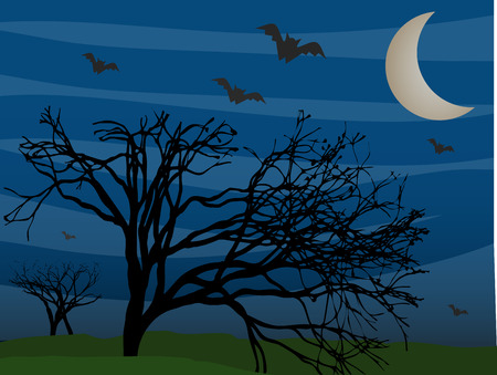 halloween background: Bats flying by leafless trees on foggy mysterious night  Illustration