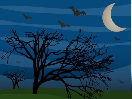 Vleermuizen vliegen door leafless bomen op mistige mysterieuze nacht
