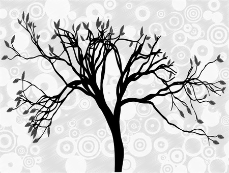 Creepy silhouetted tree surrounded by gray circle abstract sky Stock Vector - 7827223
