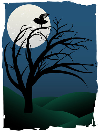 Single Bird Sits on Creepy Curvy Tree at night under full moon surrounded by green hills Vector