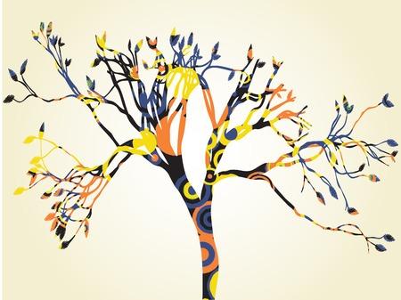 1 つのサイケデリックな木のシルエット