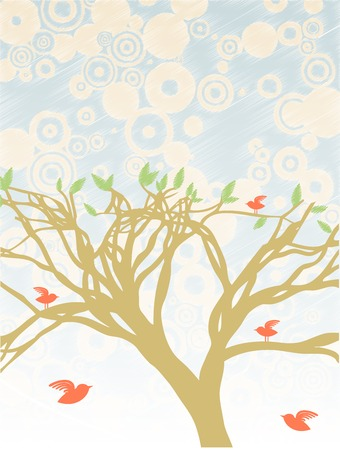 Red birds flying and sitting on branch filled tree, light with leaves Illustration
