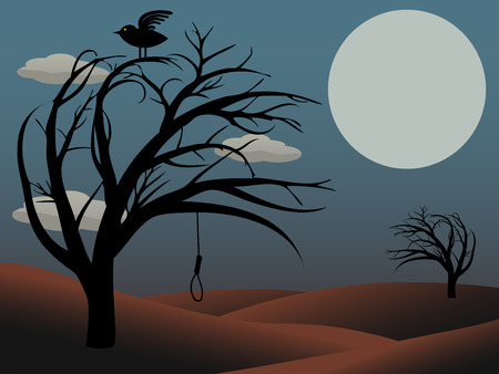 atop: Gothic Bird Sits atop creepy curvy tree with empty noose dusky red full moon
