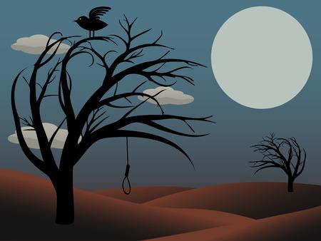 gruselig: Gothic Vogel sitzt auf gruselig curvy Baum mit leeren Noose dusky red Full moon Illustration